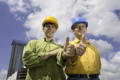 Recruit construction workers now with a thumbs up