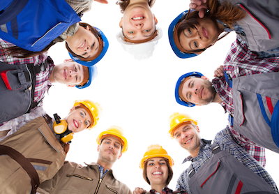 Team huddle to recruit construction workers