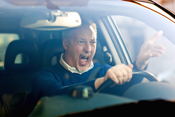 Driver dealing with anger at work