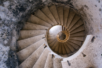 Building a spiral staircase in an underground tunnel