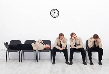 Bored candidate waiting on interview